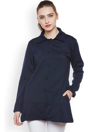 Belle Women Navy Blue Overcoat