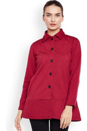 Belle Women Maroon Fleece Coat