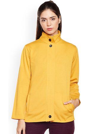 Belle Women Mustard Yellow Solid Lightweight Bomber Jacket