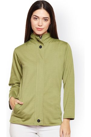 Belle Women Olive Green Solid Lightweight Open Front Jacket