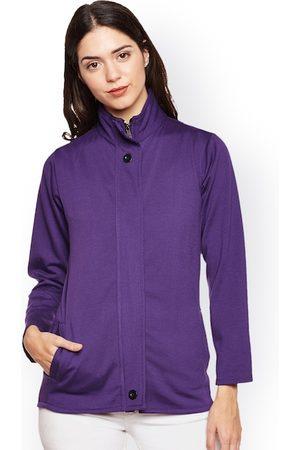 Belle Women Purple Solid Lightweight Open Front Jacket