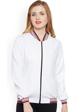 Belle Women White Solid Lightweight Bomber Jacket