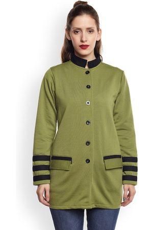 Belle Women Olive Green Fleece Pea Coat