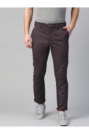 Marks & Spencer Men Aurbergine Slim Fit Solid Chinos