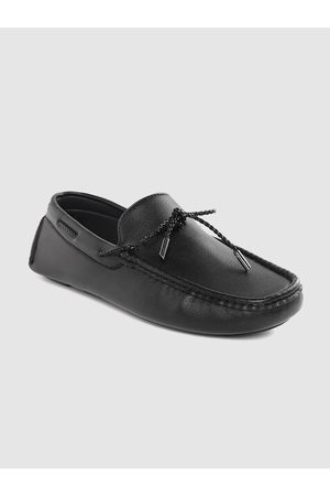 Mast & Harbour Men Black Solid Wide Driving Shoes with Tie-Up Detail