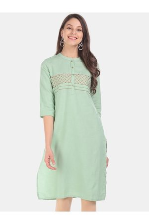 Karigari Women Green Solid Straight Kurta