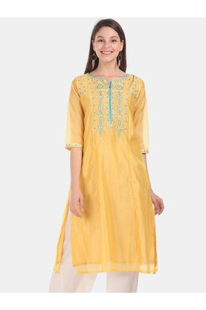 Karigari Women Yellow Embroidered Straight Kurta