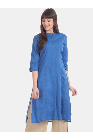 Karigari Women Blue Solid Straight Kurta
