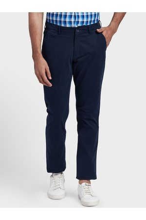 ColorPlus Men Navy Blue Regular Fit Solid Chinos