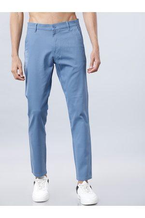 Highlander Men Blue Slim Fit Solid Regular Trousers
