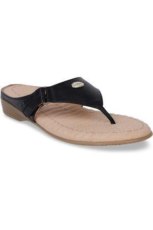 Scholl Women Black Solid Leather Comfort Heels