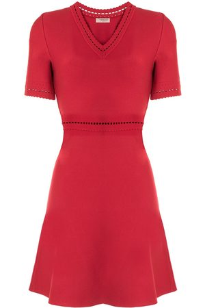 Twin-Set Punch-hole detail V-neck dress