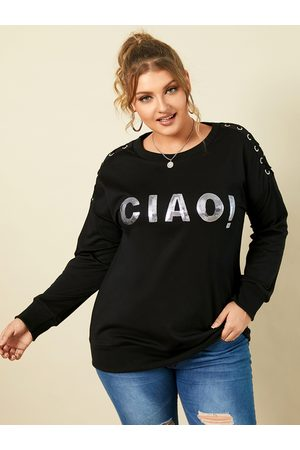 YOINS Plus Size Crew Neck Letter Criss-cross Long Sleeves Tee