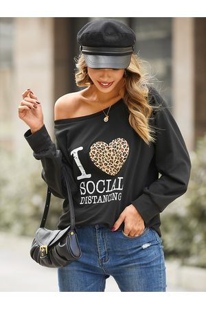 YOINS Leopard Heart Letter Print Round Neck Long Sleeves Tee