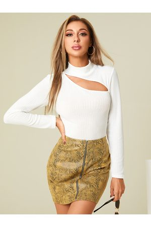 YOINS Cut Out Mock Neck Long Sleeves Ribbed Knit Top