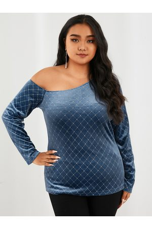 YOINS Plus Size One Shoulder Plaid Backless Design Long Sleeves Tee