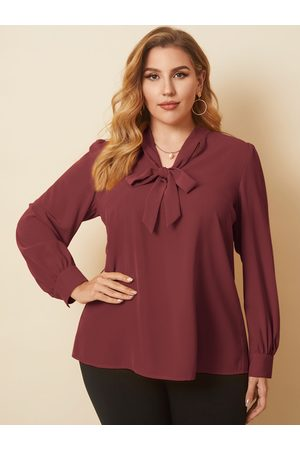 YOINS Plus Size V-neck Tie-up Design Long Sleeves Blouse