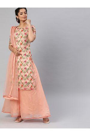 Inddus Women Peach-Coloured & Golden Woven Design Kurta with Palazzos & Dupatta
