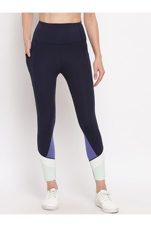 ENAMORA Women Navy Blue & White Dry Fit Athleisure E158 Active Tights