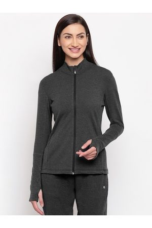 ENAMORA Women Black Solid Slim Fit Sporty Jacket