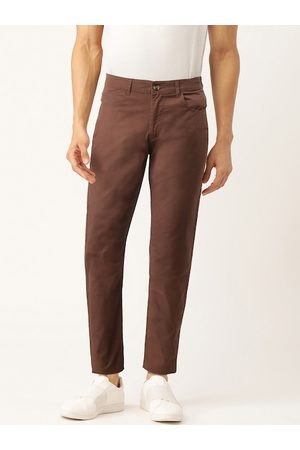 Benetton Men Coffee Brown Slim Fit Solid Chinos