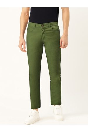 Benetton Men Olive Green Slim Fit Solid Chinos