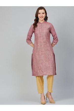 Rangriti Women Dusty Pink & Golden Printed Straight Kurta