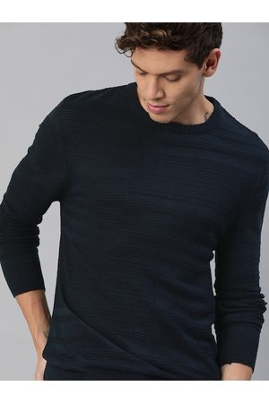WROGN Men Navy Blue Self-Striped Pullover Sweater