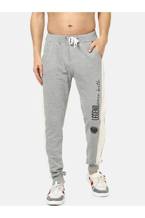 Fido Dido Men Grey Melange & Off-White Colourblocked Slim-Fit Joggers