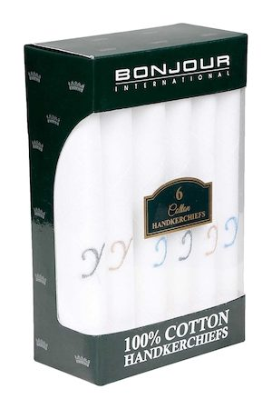 Bonjour Men Pack Of 6 White Solid Handkerchiefs with Initial Y