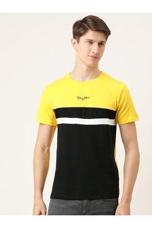The Indian Garage Co Men Black & Yellow Colourblocked Round Neck T-shirt