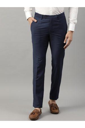 HARSAM Men Navy Blue Regular Fit Solid Formal Trousers