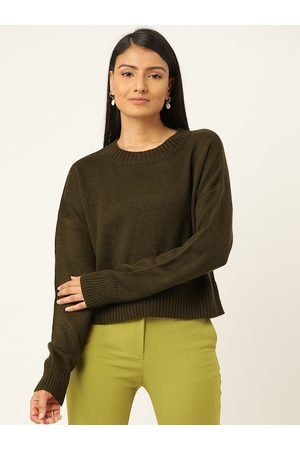 20Dresses Women Olive Green Solid Pullover Sweater