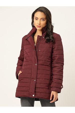 20Dresses Women Burgundy Solid Longline Padded Jacket