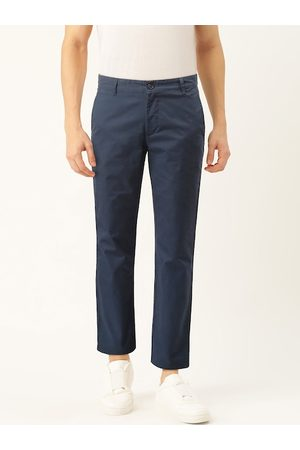 Benetton Men Navy Blue Slim Fit Solid Chinos