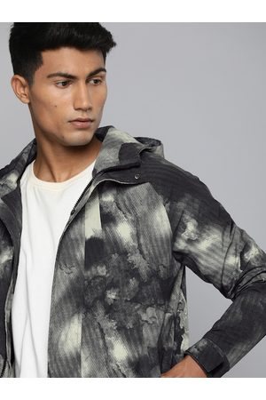HRX Men Black Printed Rapid-Dry Antimicrobial Outdoor Sporty Jacket