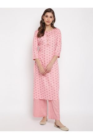 Janasya Women Pink Printed Kurta with Palazzos