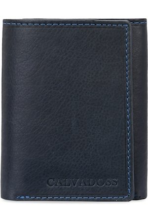 Calvadoss Men Blue Solid Genuine Leather Sustainable Three Fold Wallet