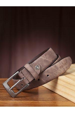 Highlander Men Brown Solid Belt With Faded Effect