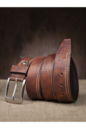 Highlander Men Brown Solid Belt with Smoky effect
