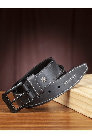 Highlander Men Charcoal Grey Solid Belt