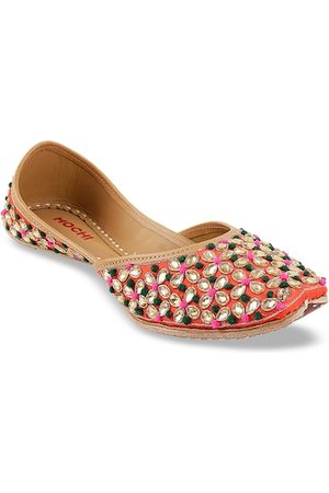 All Things Mochi Women Coral Red Embellished Leather Mojaris