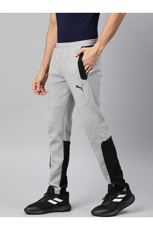 PUMA Men Grey Melange & Black Slim Fit Colourblocked dryCELL EVOSTRIPE Track Pants