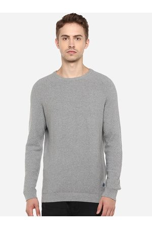 Red Chief Men Grey Solid Pullover Sweater