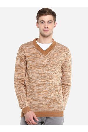 Red Chief Men Camel Brown Self Design Sweater