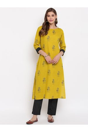Janasya Women Mustard Yellow & Black Printed Kurta with Trousers