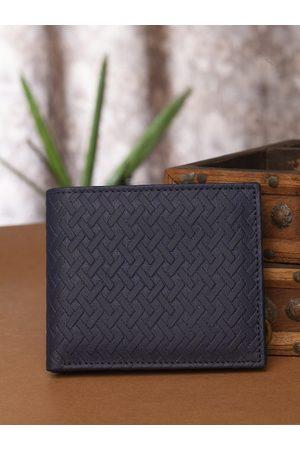 Highlander Men Navy Blue Basketweave Textured Two Fold Wallet