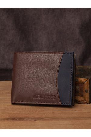 Highlander Men Brown & Navy Blue Colourblocked Two Fold Wallet