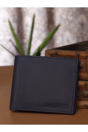 Highlander Men Navy Blue Solid Two Fold Wallet