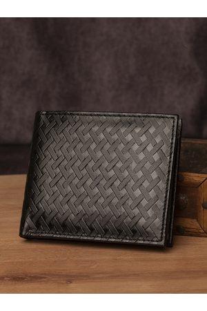 Highlander Men Black Basketweave Textured Two Fold Wallet